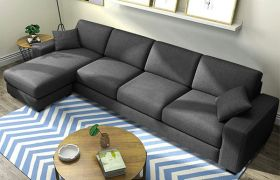 CasaStyle Adonoy 5 Seater Fabric L Shape Sofa Set (Dark Grey)