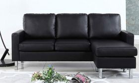 Casastyle Alexis 4 Seater Interchangeable L shape Leatherette Sofa (Black)