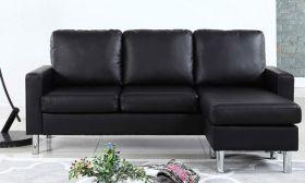 Casastyle Alexis 4 Seater Interchangeable L shape Leatherette Sofa (Black)