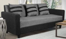 CasaStyle Alice Three Seater Sofa (Light Grey-Black)