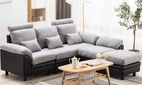 CasaStyle Amerigo Five Seater Interchangeable L Shape Sofa (Light Grey-Black)