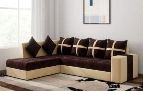 CasaStyle Arnel 6 Seater LHS L Shape Sofa Set (Brown-Cream)