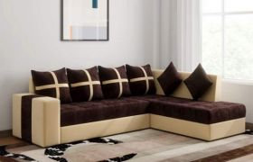 CasaStyle Arnel 6 Seater RHS L Shape Sofa Set (Brown-Cream)