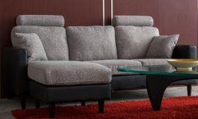 Casastyle Avion 4 Seater Interchangeable L shape Sofa (Light Grey-Black)