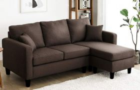 CasaStyle Baylin Four Seater L Shape Interchangeable Sofa (Dark Brown)