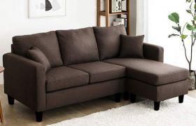 CasaStyle Baylin Four Seater L Shape Interchangeable Sofa (Dark Brown)