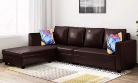 CasaStyle Carol Six Seater LHS L Shape Sofa Set Leatherette (Brown)