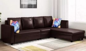 CasaStyle Carol Six Seater RHS L Shape Sofa Set Leatherette (Brown)