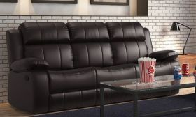 Casastyle Chris Three Seater Recliner Sofa in Leatherette(Black)