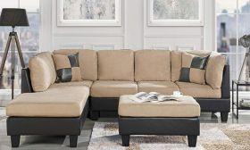 Casastyle Christopher Modern 3-Piece Seven Seater LHS Sofa & Ottoman Set (Cream-Black)