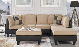 Casastyle Christopher Modern 3-Piece Seven Seater RHS Sofa & Ottoman Set (Cream-Black)