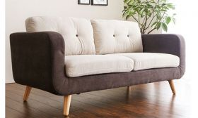 CasaStyle Cyrano Two Seater Sofa (Cream-Brown)