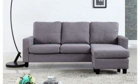 CasaStyle - David 4 Seater L Shape Interchangeable Sofa (Grey)| Sofas for Living Room