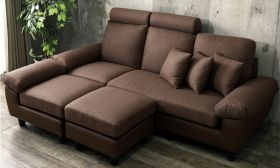 CasaStyle Isabella Five Seater Interchangeable L Shape Fabric + Leatherette Sofa (Brown)
