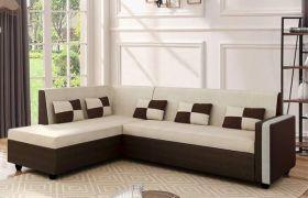 CasaStyle Leximus Six Seater LHS L Shape Sofa Set (Cream-Brown)
