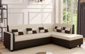 CasaStyle Leximus Six Seater RHS L Shape Sofa Set (Cream-Brown)