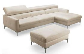 Casastyle Mosco Five Seater L shape RHS Leatherette Sofa (Cream)