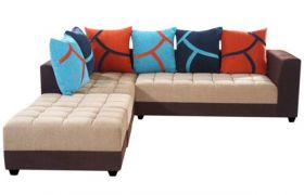 Casastyle Multi L-Shape 7 Seater Sofa LHS L Shape Sofa (3 Seater + 2 Seater + 2 Puffy) Combo (Beige & Brown)