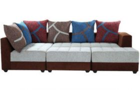 Casastyle Multi L-Shape 7 Seater Sofa LHS L Shape Sofa (3 Seater + 2 Seater + 2 Puffy) Combo (Grey & Brown)