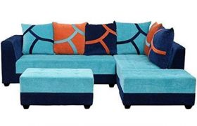 Casastyle Multi L-Shape 7 Seater Sofa RHS L Shape Sofa (3 Seater + 2 Seater + 2 Puffy) Combo (Aqua blue & Black)