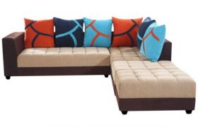 Casastyle Multi L-Shape 7 Seater Sofa RHS L Shape Sofa (3 Seater + 2 Seater + 2 Puffy) Combo (Beige & Brown)