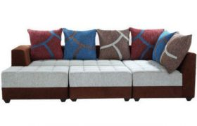 Casastyle Multi L-Shape 7 Seater Sofa RHS L Shape Sofa (3 Seater + 2 Seater + 2 Puffy) Combo (Grey & Brown)