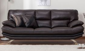 CasaStyle Rubik Three Seater Leatherette Sofa (Brown)