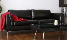 Casastyle Samuel Three Seater Leatherette Sofa (Black)