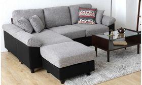 Casastyle Steve Five Seater Interchangeable L shape Sofa (Light Grey-Black)