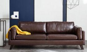 CasaStyle Taylor Three Seater Leatherette Sofa (Dark Brown)