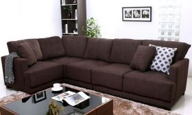 Casastyle Windsor Five Seater Modular Interchangeable L shape Sofa (Dark Brown)