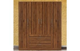 CasaStyle Casine Engineered Wood 4 Door Wardrobe with Middle Drawers
