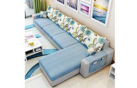CasaStyle Coral 5 Seater Fabric L Shape Sofa Set (Light Blue- Light Grey)
