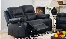 CasaStyle Fabilo Two Seater Recliner Sofa (Black) with Premium Leatherette