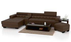 CasaStyle Furnterior L-Shape LHS Six Seater Magestic Leatherette Sofa Set