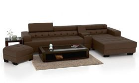 CasaStyle Furnterior L-Shape RHS Six Seater Magestic Leatherette Sofa Set