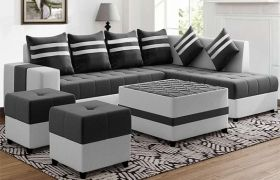 CasaStyle Stylio 8 Seater Fabric L Shape Sofa Set with Centre Table & 2 Puffy (Dark Grey-Light Grey)