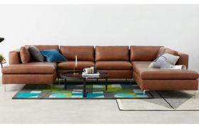 CasaStyle Hamilon Seven Seater Leatherette Corner Sofa (Rust)