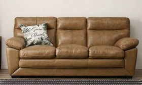 CasaStyle Karlott 3 Seater Sofa Set in Leatherette (Beige)