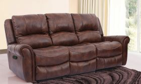 CasaStyle Molfin Three Seater Recliner Sofa in Leatherette (Brown)