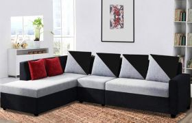 CasaStyle Neylar 6 Seater LHS L Shape Sofa Set For Living Room (Grey-Black)