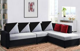 CasaStyle Neylar 6 Seater RHS L Shape Sofa Set For Living Room (Grey-Black)