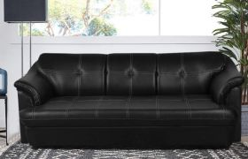 CasaStyle Reecon 3 Seater Sofa Set in Leatherette (Black)