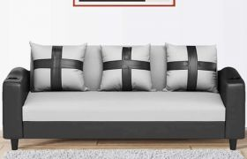 CasaStyle Ronstyle 3 Seater Fabric & Leatherette Sofa Set (Light Grey-Black)