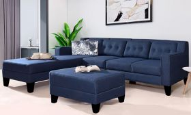 CasaStyle Travia 6 Seater LHS L Shape Sofa Set (Blue)