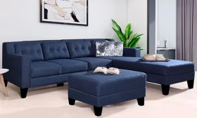 CasaStyle Travia 6 Seater RHS L Shape Sofa Set (Blue)