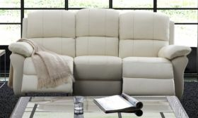 CasaStyle Venezua 3 Seater Recliner Sofa in Leatherette (Cream)